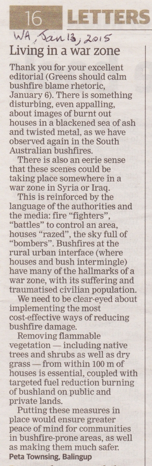 Letter published in The West Australian, the daily newspaper of the state of Western Australia.