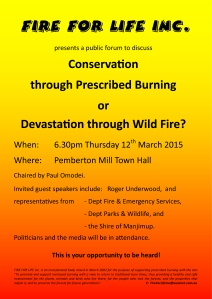 Poster for Meeting advocating prescribed burning.